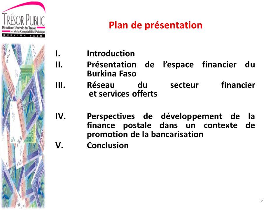 III.Le réseau du secteur financier et les services offerts III.3:La finance postale III.