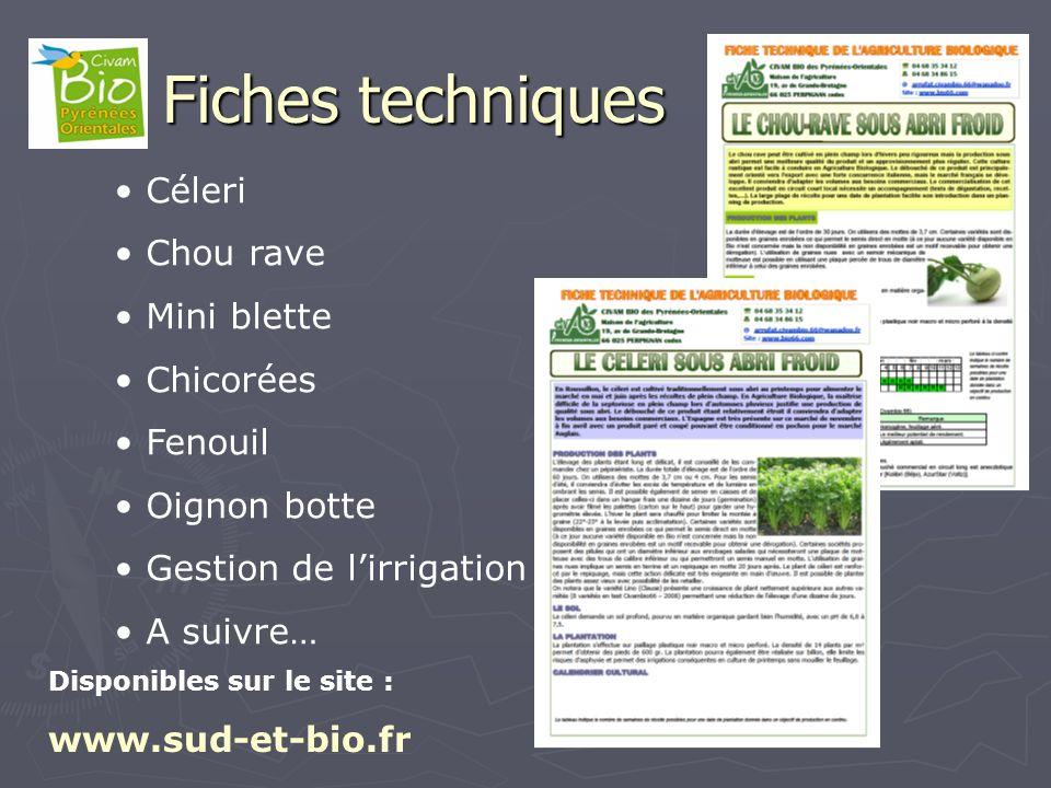 Fiches techniques Céleri Chou rave Mini blette Chicorées Fenouil Oignon botte Gestion de lirrigation A suivre… Disponibles sur le site : www.sud-et-bi