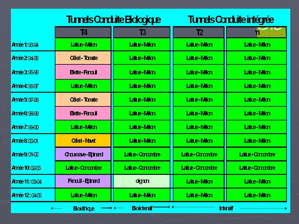 Tunnels Conduite Biologique Tunnels Conduite intégrée T4 T3T3T3T3 T2 Année 1: 93-94 Laitue - Melon Laitue - MelonLaitue - MelonLaitue - MelonLaitue -