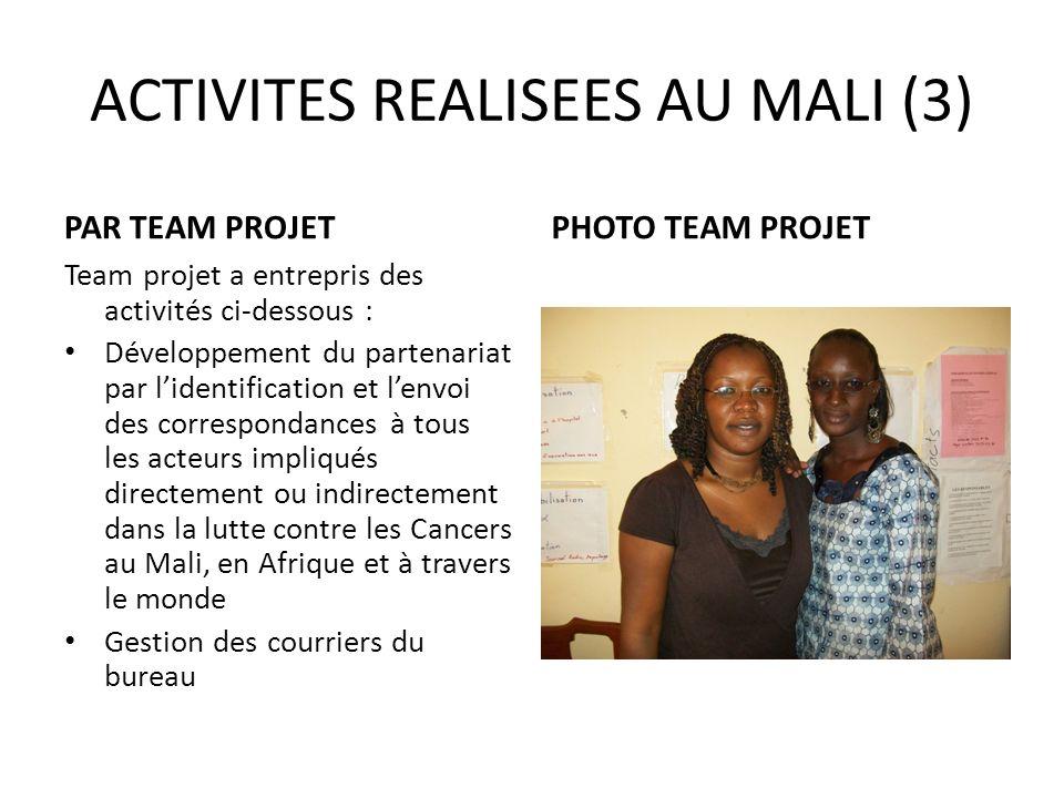 ACTIVITES REALISEES AU MALI (3) PAR TEAM PROJET Team projet a entrepris des activités ci-dessous : Développement du partenariat par lidentification et