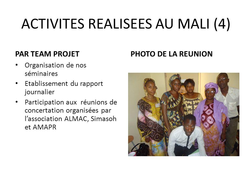 ACTIVITES REALISEES AU MALI (4) PAR TEAM PROJET Organisation de nos séminaires Etablissement du rapport journalier Participation aux réunions de conce