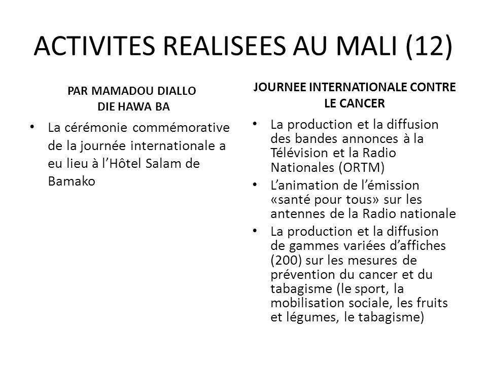 ACTIVITES REALISEES AU MALI (12) PAR MAMADOU DIALLO DIE HAWA BA La cérémonie commémorative de la journée internationale a eu lieu à lHôtel Salam de Ba