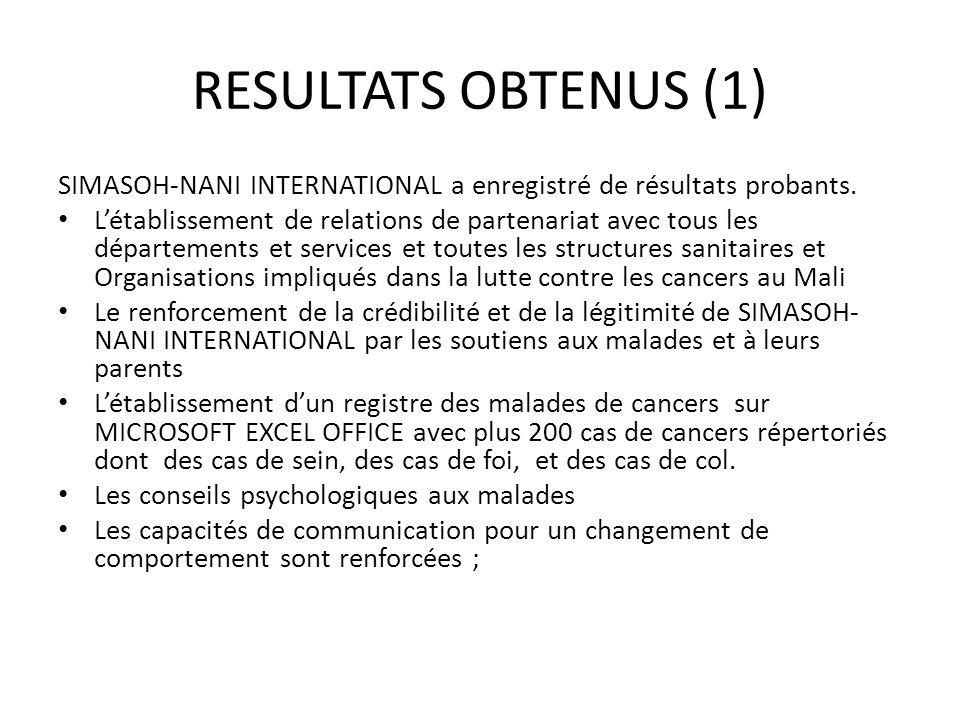 RESULTATS OBTENUS (1) SIMASOH-NANI INTERNATIONAL a enregistré de résultats probants. Létablissement de relations de partenariat avec tous les départem