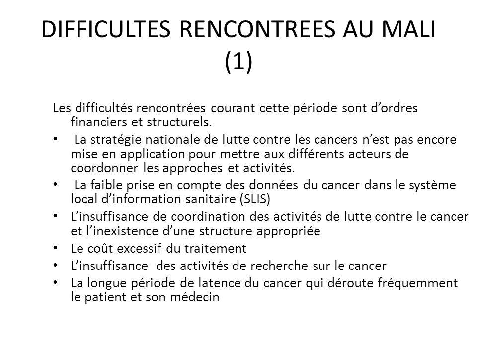 DIFFICULTES RENCONTREES AU MALI (1) Les difficultés rencontrées courant cette période sont dordres financiers et structurels. La stratégie nationale d