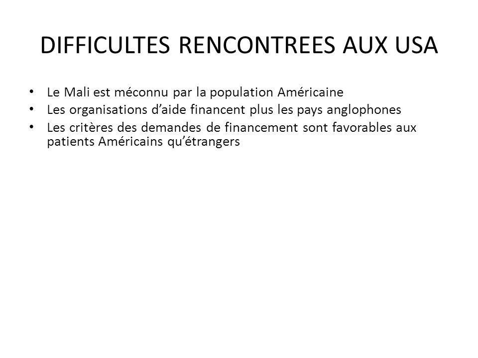 DIFFICULTES RENCONTREES AUX USA Le Mali est méconnu par la population Américaine Les organisations daide financent plus les pays anglophones Les critè