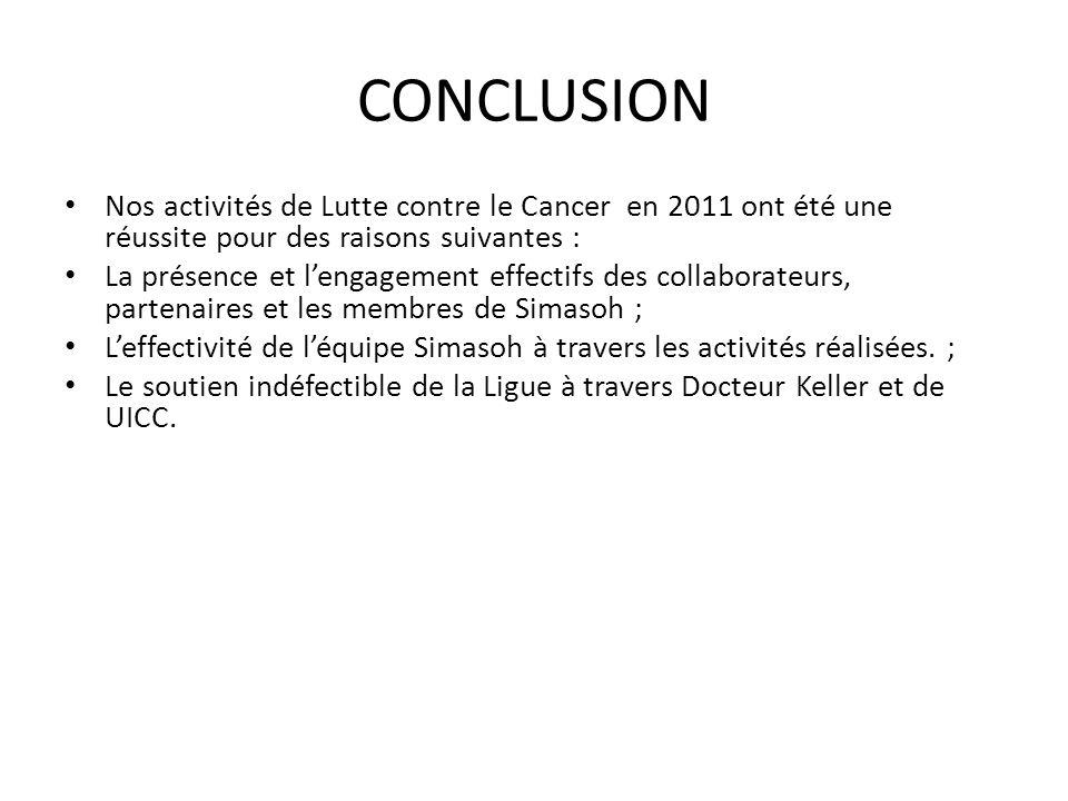 CONCLUSION Nos activités de Lutte contre le Cancer en 2011 ont été une réussite pour des raisons suivantes : La présence et lengagement effectifs des
