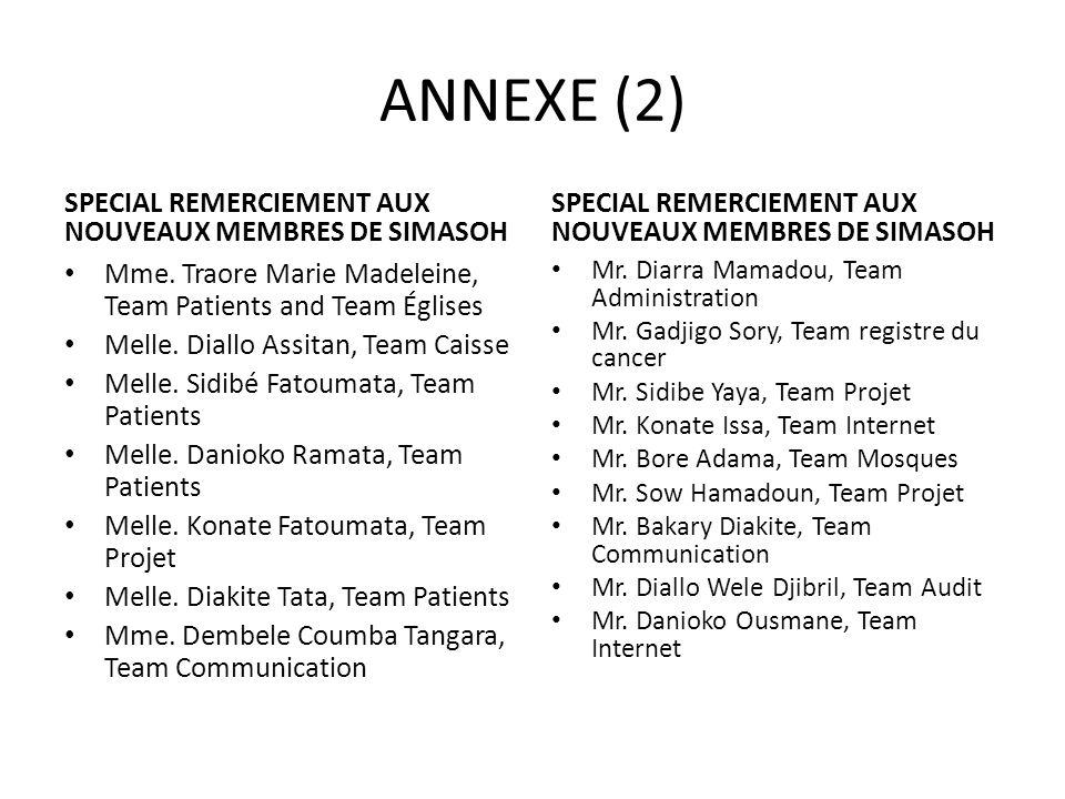 ANNEXE (2) SPECIAL REMERCIEMENT AUX NOUVEAUX MEMBRES DE SIMASOH Mme. Traore Marie Madeleine, Team Patients and Team Églises Melle. Diallo Assitan, Tea