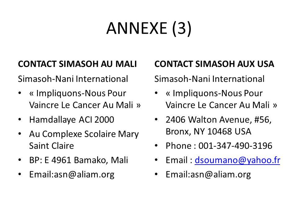ANNEXE (3) CONTACT SIMASOH AU MALI Simasoh-Nani International « Impliquons-Nous Pour Vaincre Le Cancer Au Mali » Hamdallaye ACI 2000 Au Complexe Scola