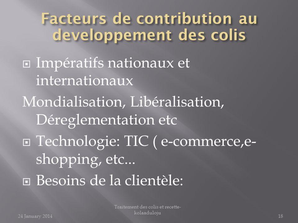 Impératifs nationaux et internationaux Mondialisation, Libéralisation, Déreglementation etc Technologie: TIC ( e-commerce,e- shopping, etc... Besoins