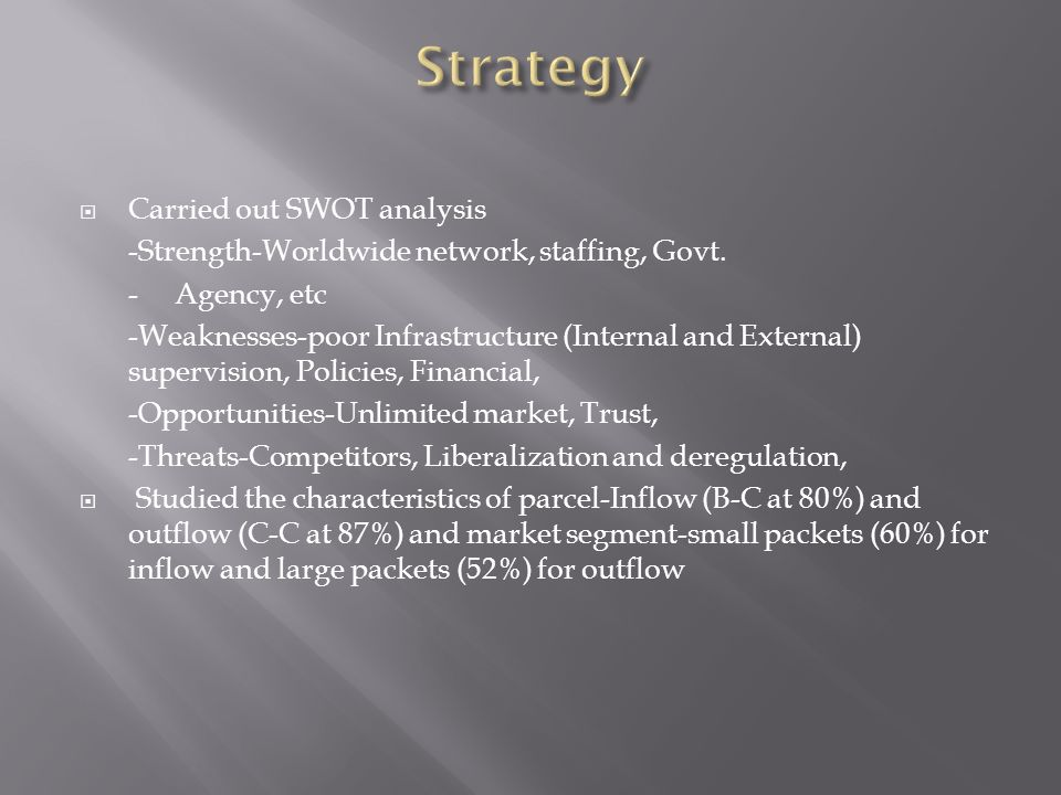 Carried out SWOT analysis -Strength-Worldwide network, staffing, Govt. - Agency, etc -Weaknesses-poor Infrastructure (Internal and External) supervisi