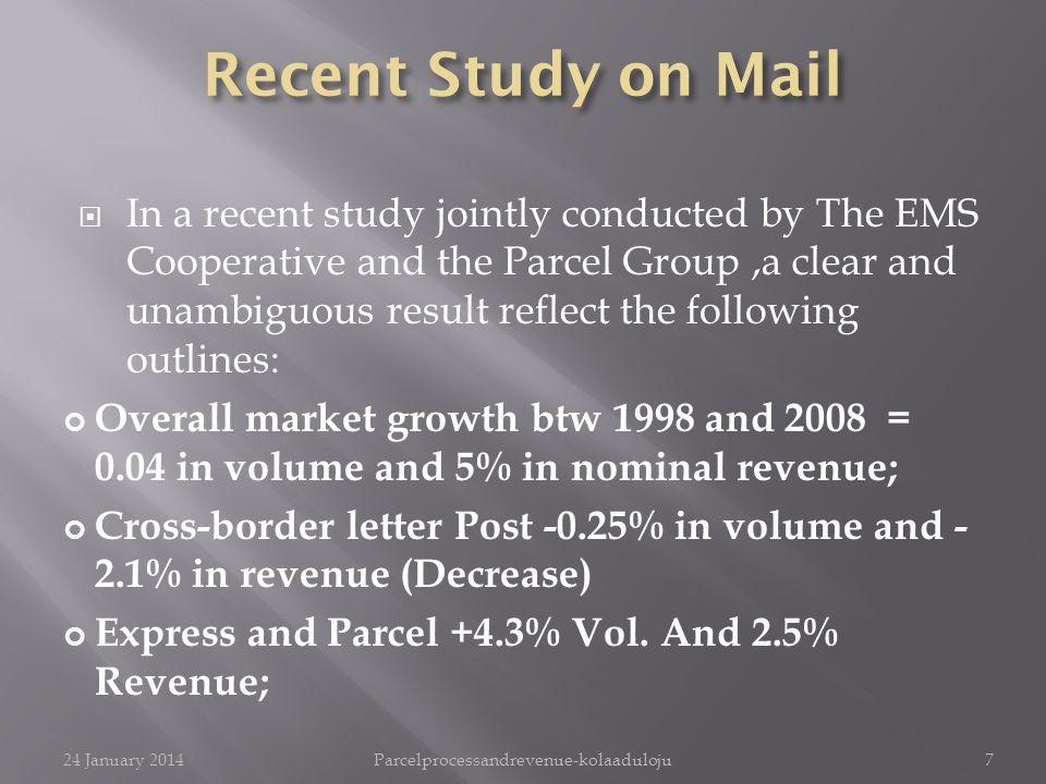 Après une récente investigation conjointement menée par la EMS Cooperative et le Parcel Group,la clarté des résultats laissait entrevoir les grandes lignes suivantes : Croissance mondiale du marché entre1998 et 2008 = 0,04 en volume et 5% en recette nominale; Colis postal transfrontalier-0.25% en volume et 2,1% en recette (baisse) Colis express +4,3% pds.
