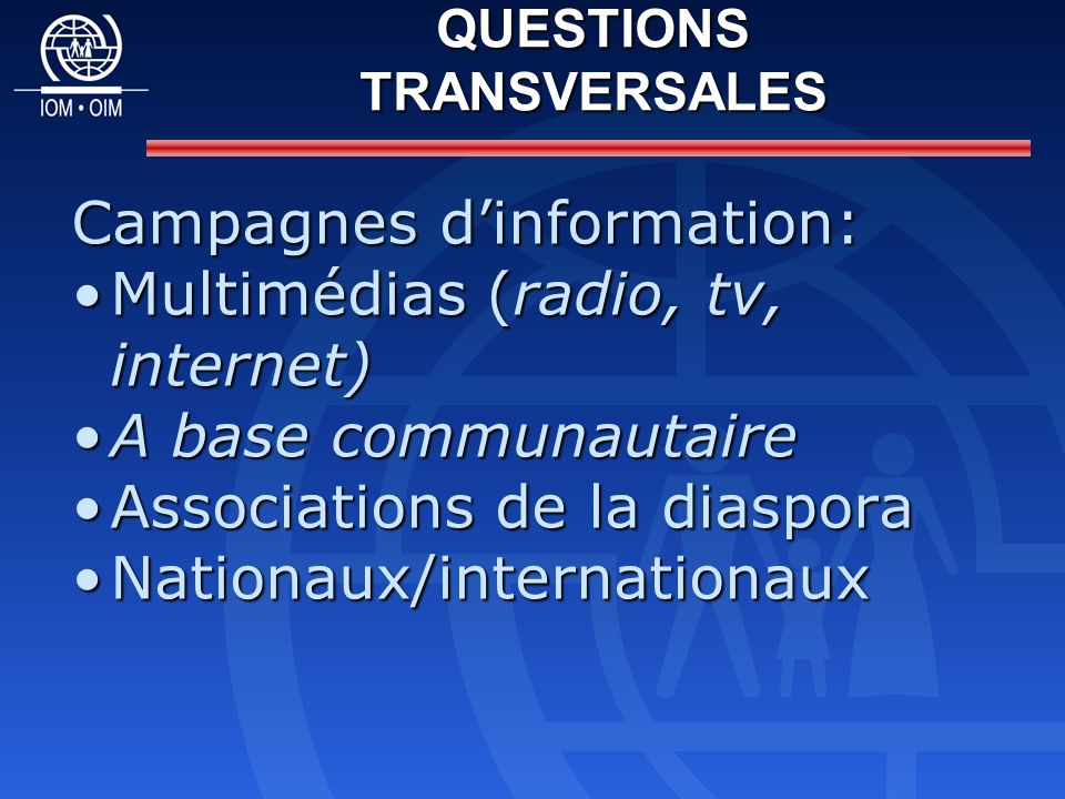 Campagnes dinformation: Multimédias (radio, tv, internet)Multimédias (radio, tv, internet) A base communautaireA base communautaire Associations de la diasporaAssociations de la diaspora Nationaux/internationauxNationaux/internationaux QUESTIONS TRANSVERSALES
