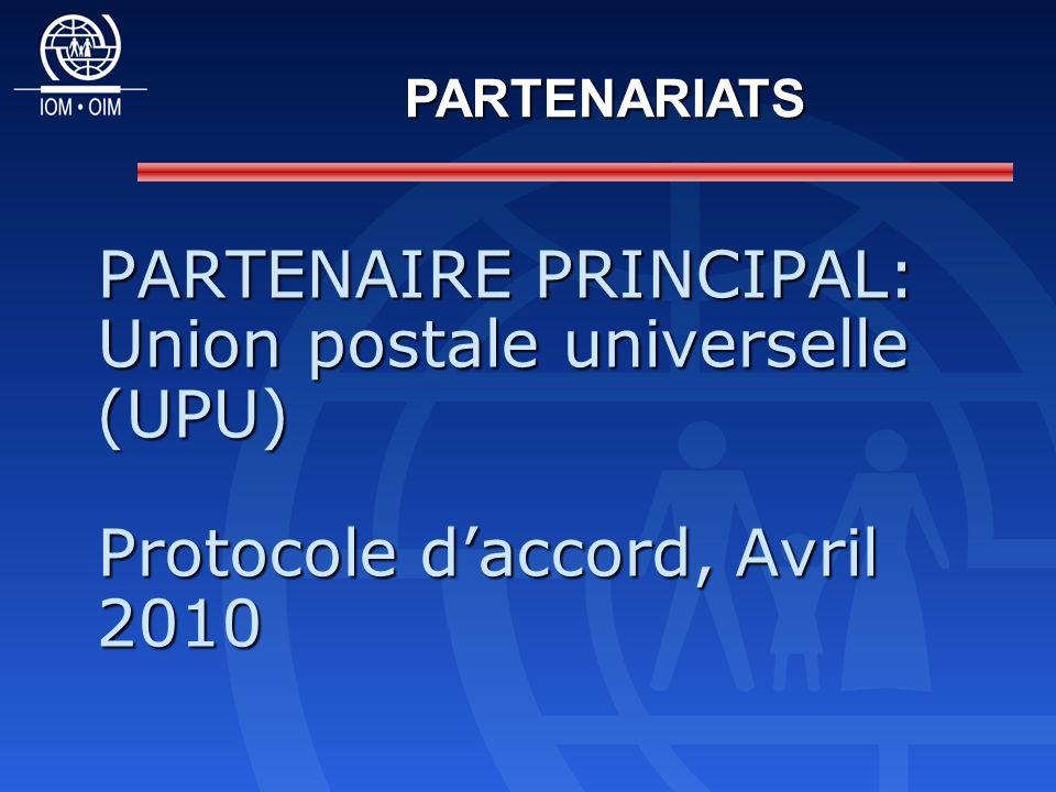 PARTENAIRE PRINCIPAL: Union postale universelle (UPU) Protocole daccord, Avril 2010 PARTENARIATS