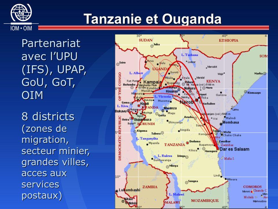 Tanzanie et Ouganda Partenariat avec lUPU (IFS), UPAP, GoU, GoT, OIM 8 districts (zones de migration, secteur minier, grandes villes, acces aux services postaux)