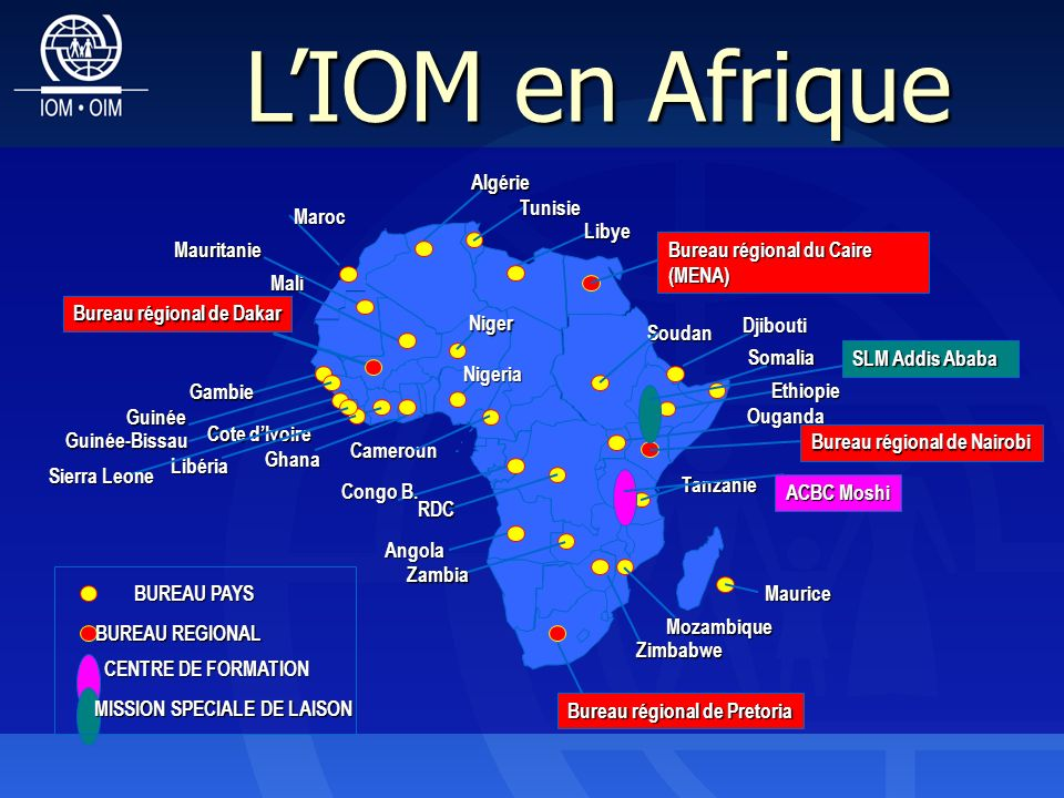 Soudan Cameroun Bureau régional de Pretoria Bureau régional de Dakar SLM Addis Ababa Angola Congo B.