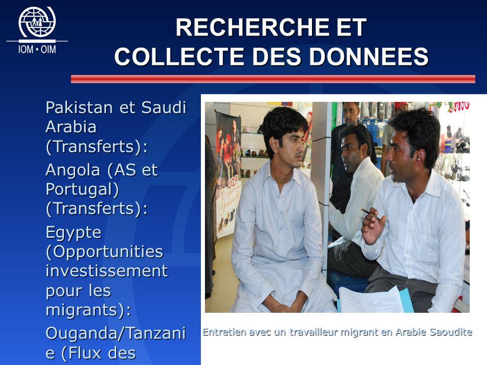RECHERCHE ET COLLECTE DES DONNEES Pakistan et Saudi Arabia (Transferts): Angola (AS et Portugal) (Transferts): Egypte (Opportunities investissement pour les migrants): Ouganda/Tanzani e (Flux des transferts): Entretien avec un travailleur migrant en Arabie Saoudite Entretien avec un travailleur migrant en Arabie Saoudite