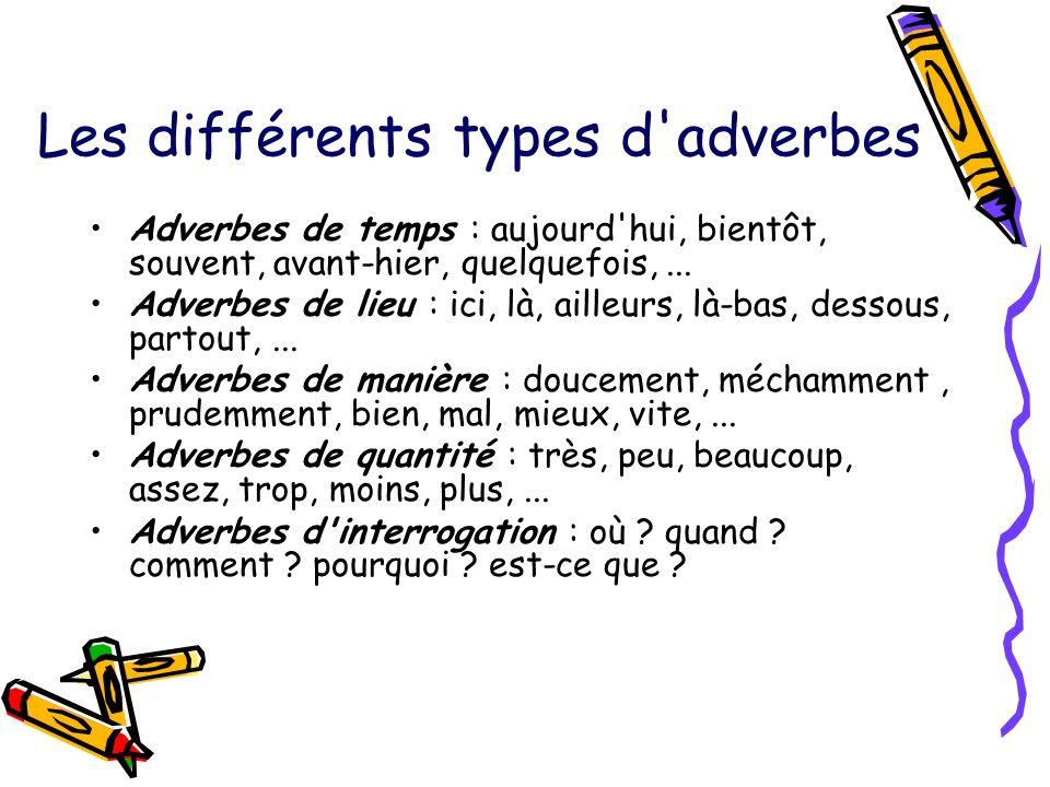 Les différents types d'adverbes Adverbes de temps : aujourd'hui, bientôt, souvent, avant-hier, quelquefois,... Adverbes de lieu : ici, là, ailleurs, l
