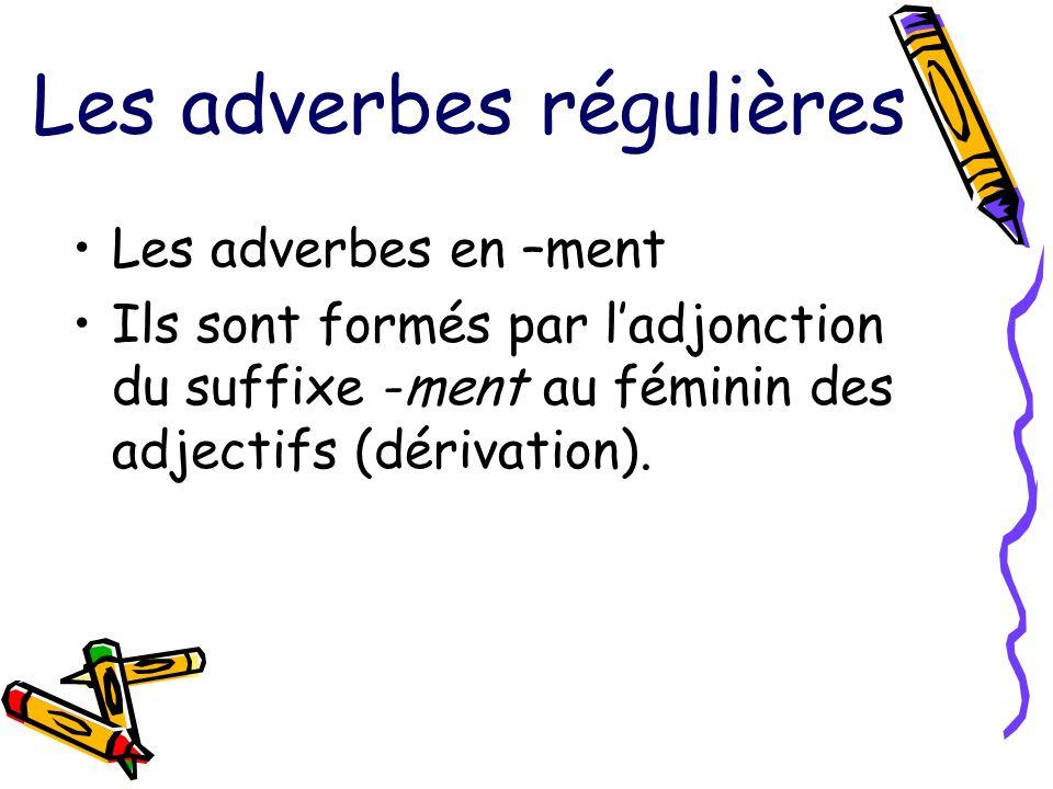 Les adverbes régulières Les adverbes en –ment Ils sont formés par ladjonction du suffixe -ment au féminin des adjectifs (dérivation).