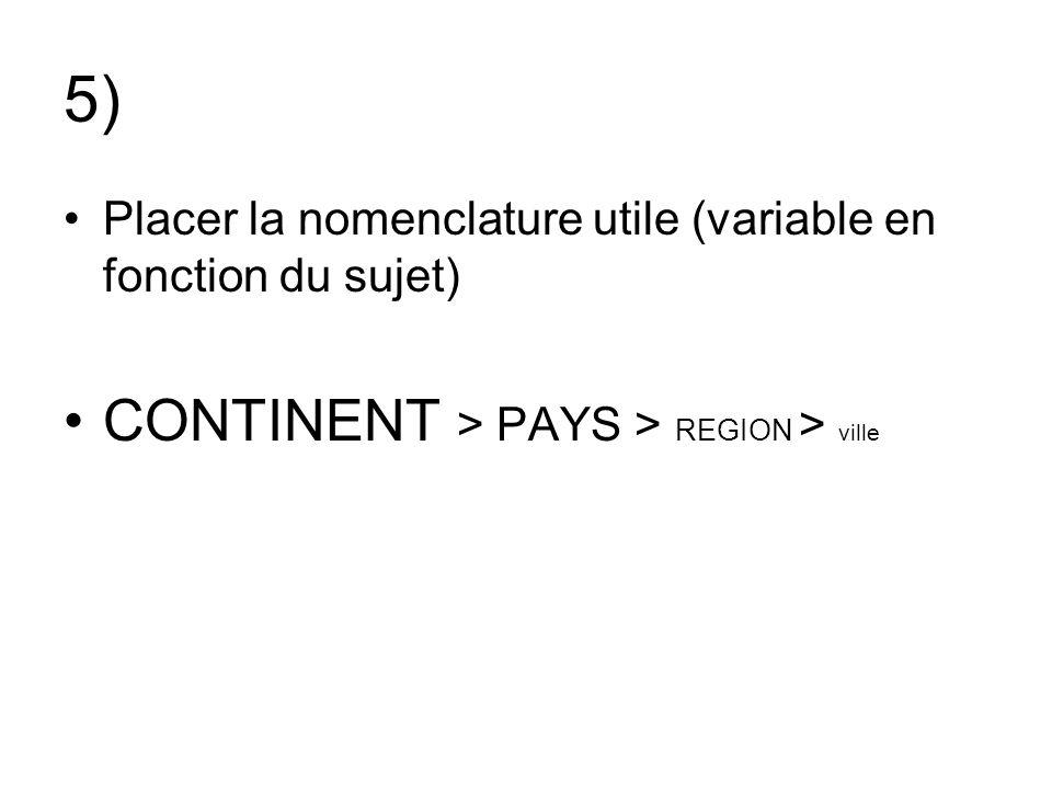 5) Placer la nomenclature utile (variable en fonction du sujet) CONTINENT > PAYS > REGION > ville