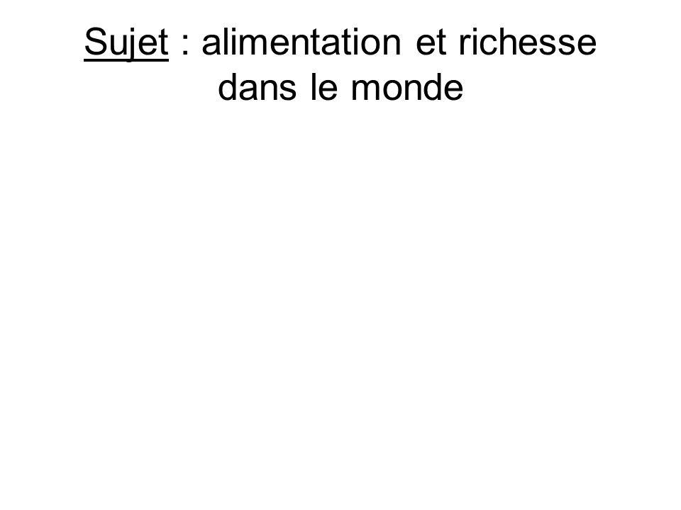 1) COMPRENDRE LE SUJET Échelle Monde « Alimentation » quelle donnée .