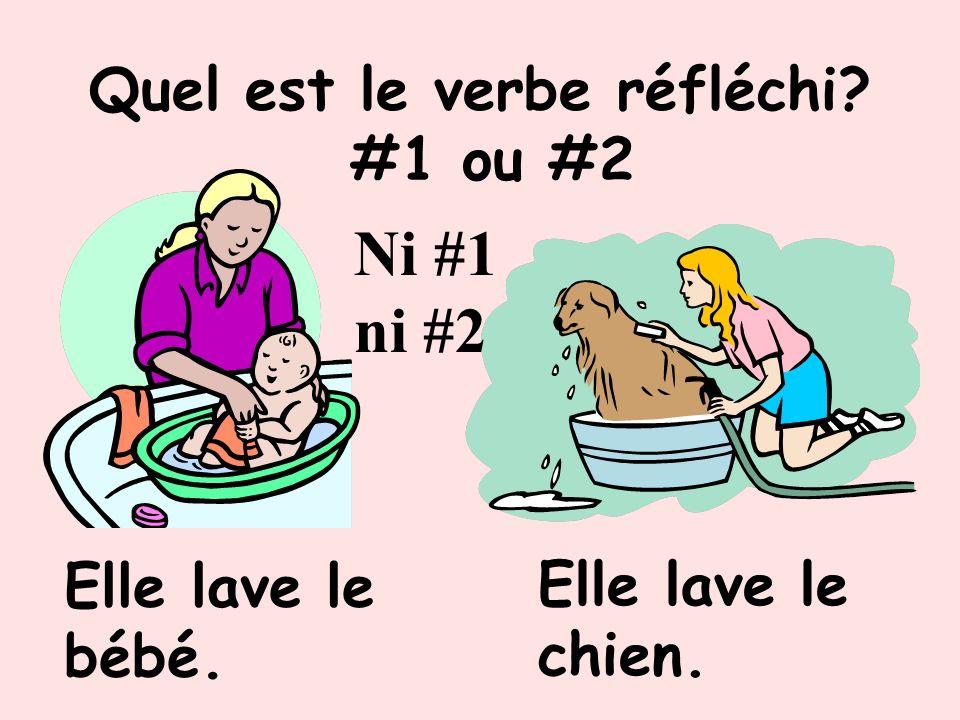 Quel est le verbe réfléchi? #1 ou #2 #2 Ils se promènent. Elle promène son chien.