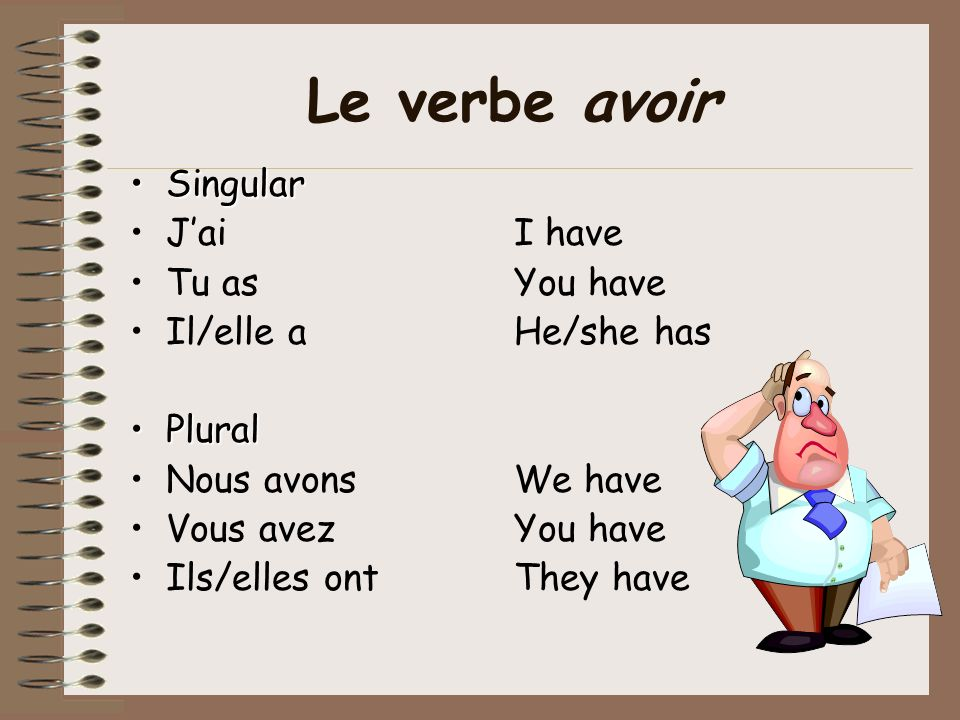 Verbs with avoir The passé composé is usually formed by using the present tense of avoir and the past participle of the verb, just as in English. You