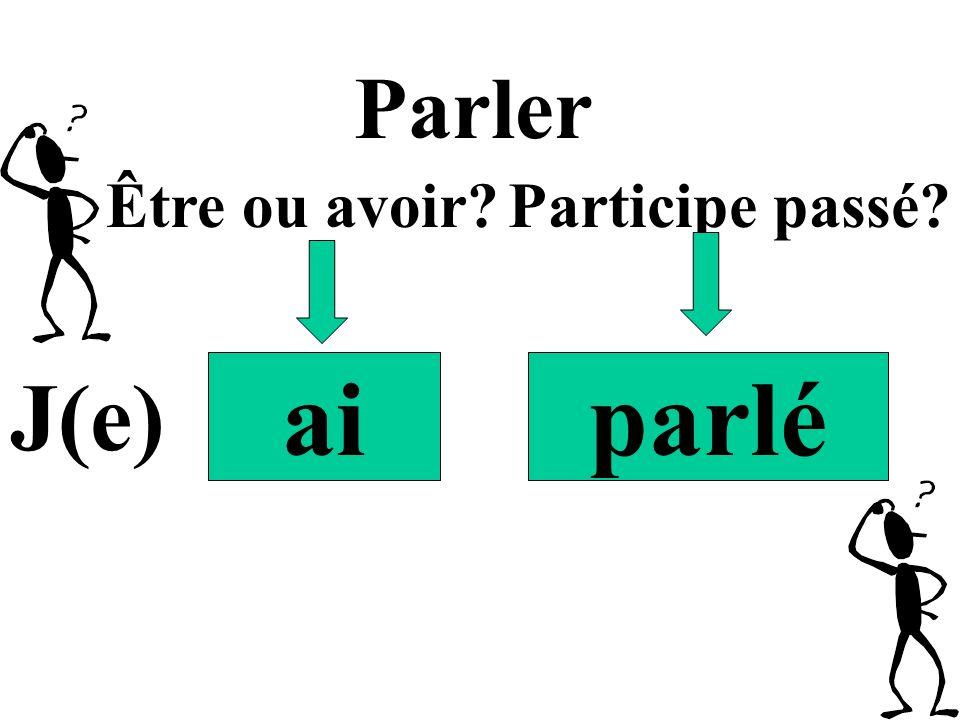 aiparlé Parler J(e) Être ou avoir?Participe passé?