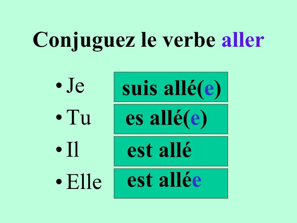 Conjuguez le verbe aller Nous Vous Ils Elles sommes allé(e)s êtes allé(e)(s) sont allés sont s allées