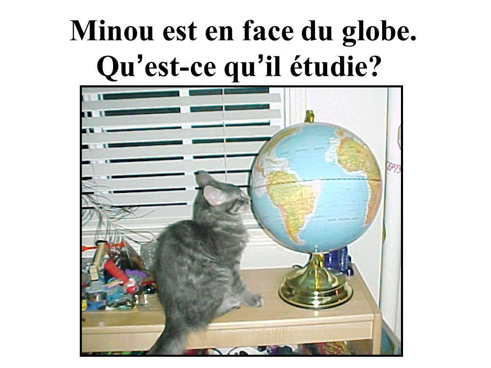 Minou est en face du globe. Qu est-ce qu il étudie?