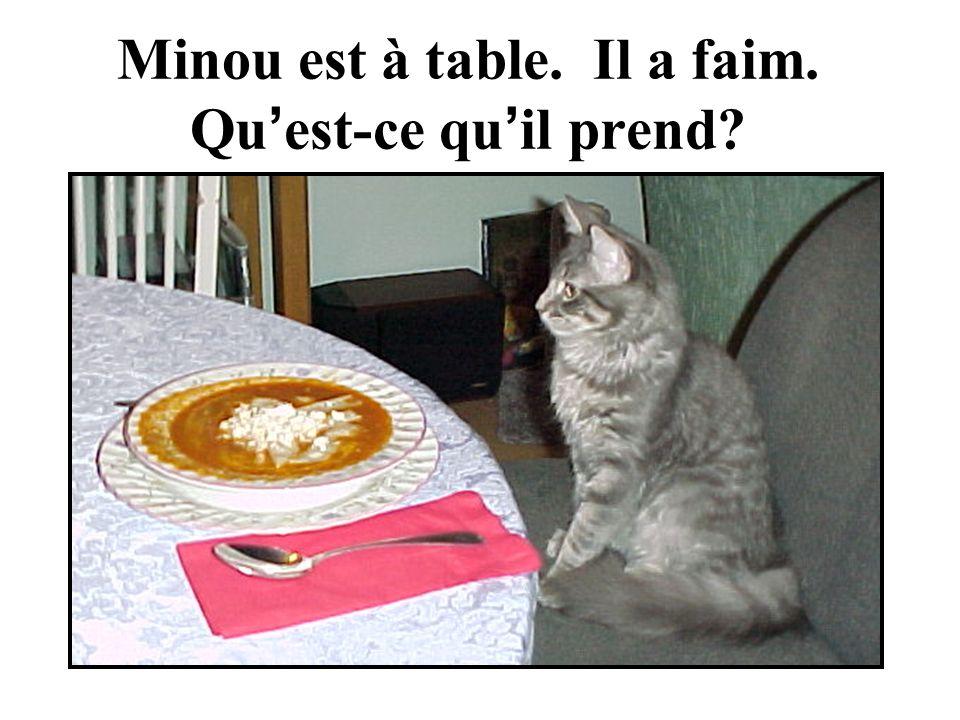 Minou est à table. Il a faim. Qu est-ce qu il prend
