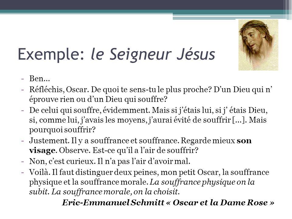 Exemple: le Seigneur Jésus -Ben… -Réfléchis, Oscar. De quoi te sens-tu le plus proche? Dun Dieu qui n éprouve rien ou dun Dieu qui souffre? -De celui
