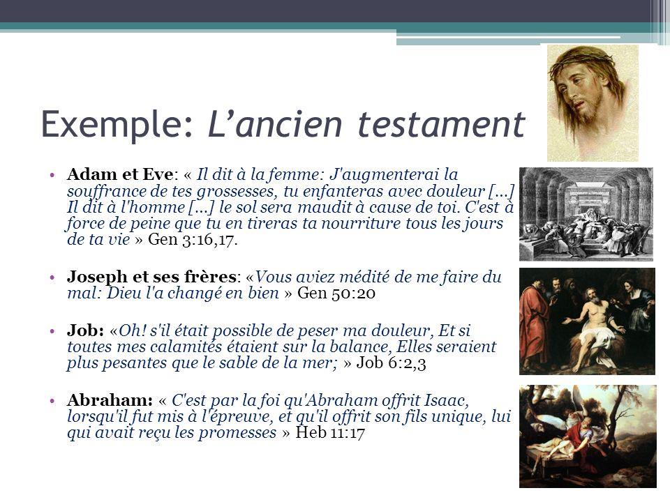 Exemple: Lancien testament Adam et Eve: « Il dit à la femme: J'augmenterai la souffrance de tes grossesses, tu enfanteras avec douleur […] Il dit à l'