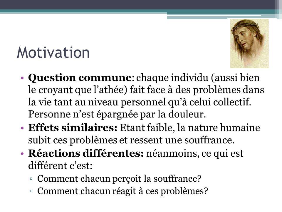 Motivation Question commune: chaque individu (aussi bien le croyant que lathée) fait face à des problèmes dans la vie tant au niveau personnel quà cel