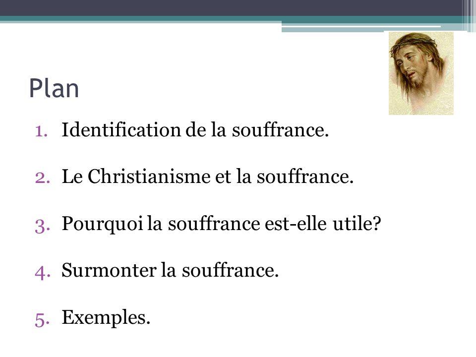 Plan 1.Identification de la souffrance. 2.Le Christianisme et la souffrance. 3.Pourquoi la souffrance est-elle utile? 4.Surmonter la souffrance. 5.Exe