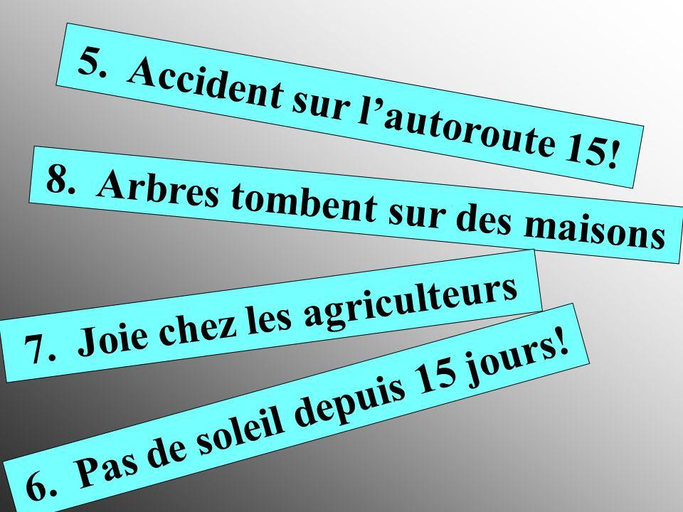 1. Les skieurs se réjouissent! 2. Aéroport fermé 3. 35° ! La France transpire!! 4. Trois maisons inondées