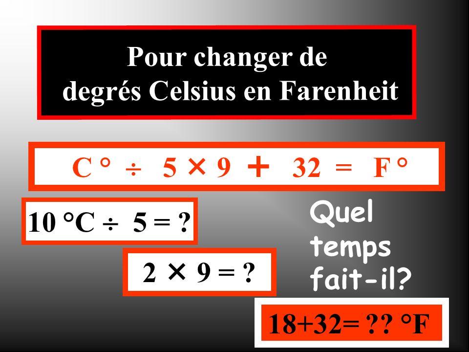 C ° 5 9 32 = F ° 30 °C 5 = ? 6 9 = ? 54+32= ?? °F Pour changer de degrés Celsius en Farenheit Quel temps fait-il?