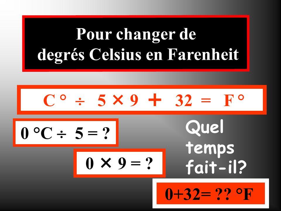 C ° 5 9 32 = F ° 10 °C 5 = ? 2 9 = ? 18+32= ?? °F Pour changer de degrés Celsius en Farenheit Quel temps fait-il?