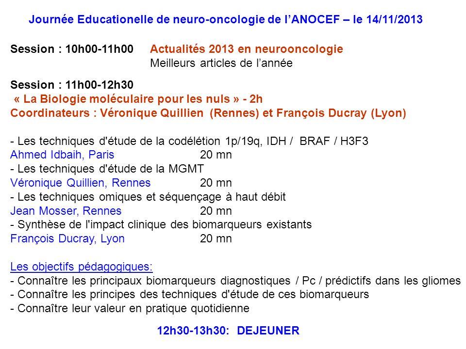 Session : 11h00-12h30 « La Biologie moléculaire pour les nuls » - 2h Coordinateurs : Véronique Quillien (Rennes) et François Ducray (Lyon) - Les techn