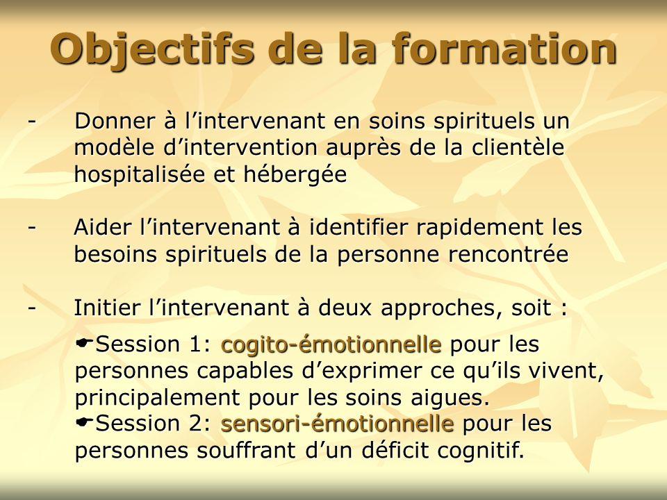- Donner à lintervenant en soins spirituels un modèle dintervention auprès de la clientèle hospitalisée et hébergée - Aider lintervenant à identifier