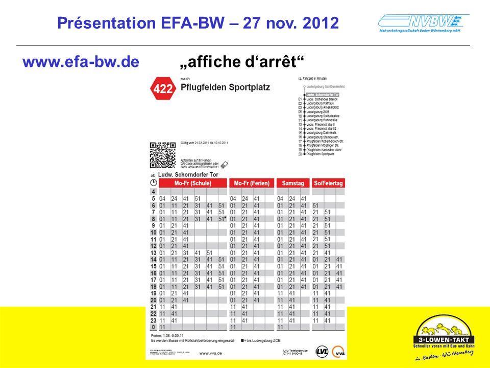 Présentation EFA-BW – 27 nov. 2012 www.efa-bw.de affiche darrêt