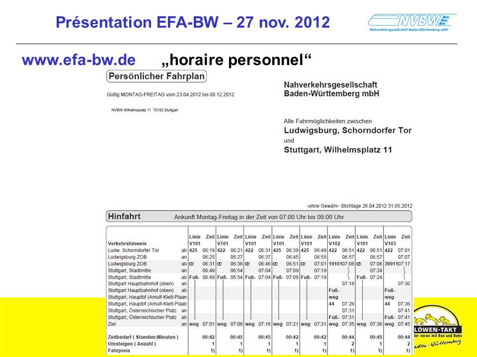 Présentation EFA-BW – 27 nov. 2012 www.efa-bw.de horaire personnel