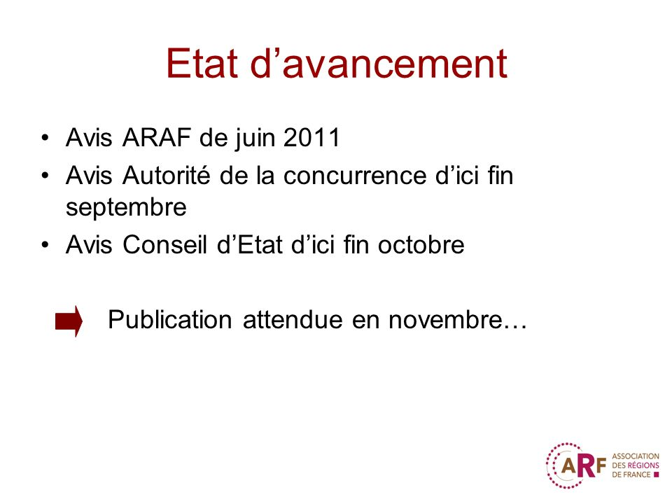 Etat davancement Avis ARAF de juin 2011 Avis Autorité de la concurrence dici fin septembre Avis Conseil dEtat dici fin octobre Publication attendue en