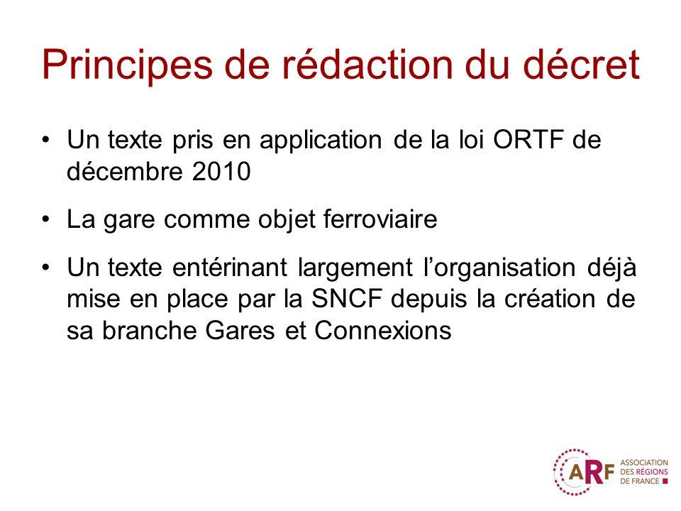 Principes de rédaction du décret Un texte pris en application de la loi ORTF de décembre 2010 La gare comme objet ferroviaire Un texte entérinant larg