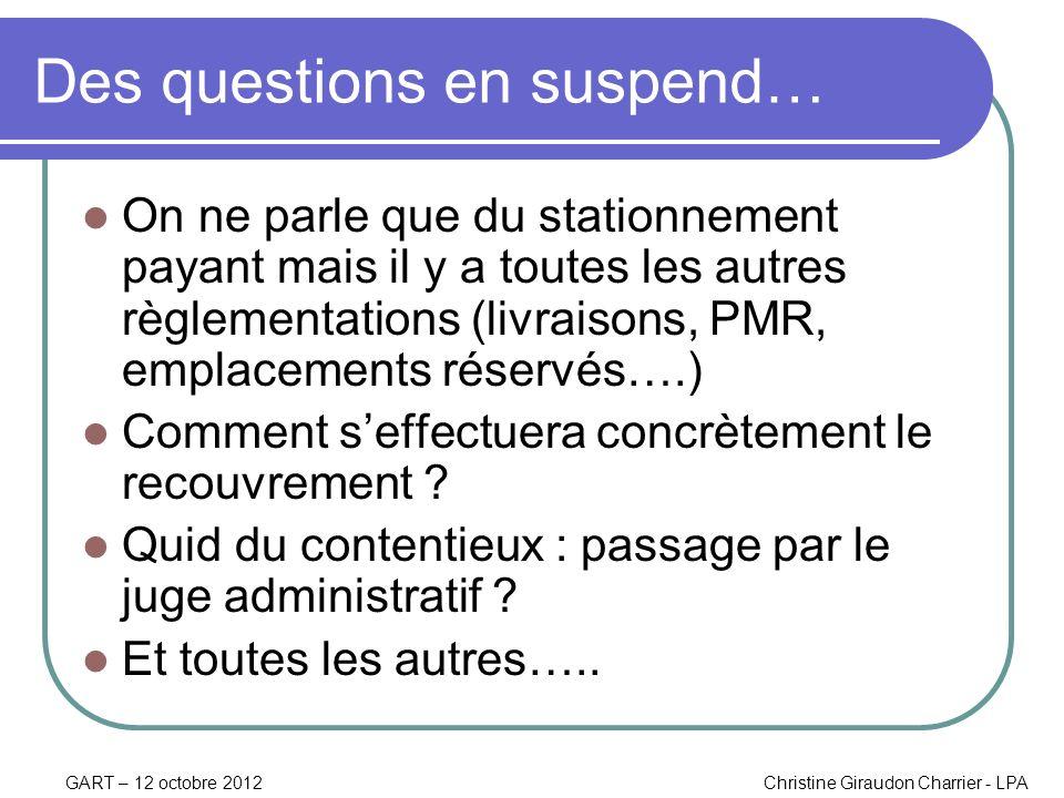 GART – 12 octobre 2012Christine Giraudon Charrier - LPA Des questions en suspend… On ne parle que du stationnement payant mais il y a toutes les autre