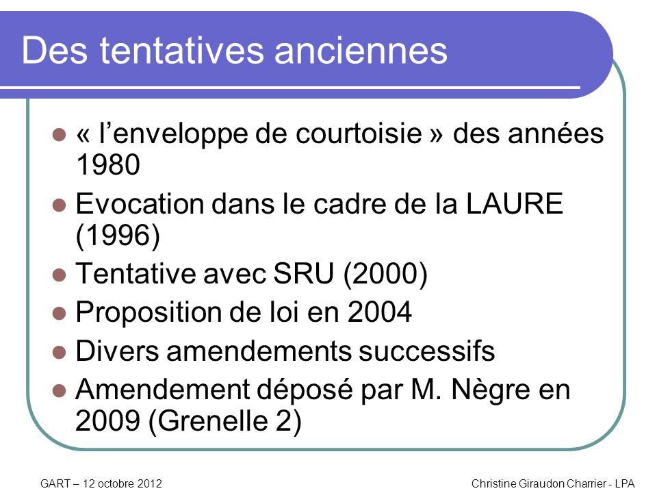 GART – 12 octobre 2012Christine Giraudon Charrier - LPA Des tentatives anciennes « lenveloppe de courtoisie » des années 1980 Evocation dans le cadre