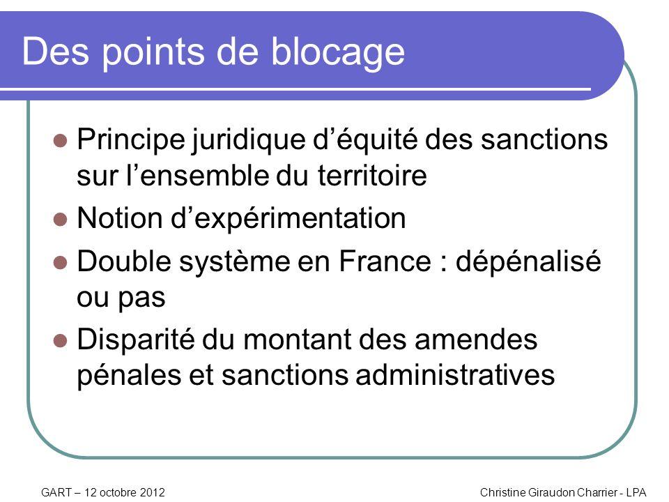 GART – 12 octobre 2012Christine Giraudon Charrier - LPA Des points de blocage Principe juridique déquité des sanctions sur lensemble du territoire Not