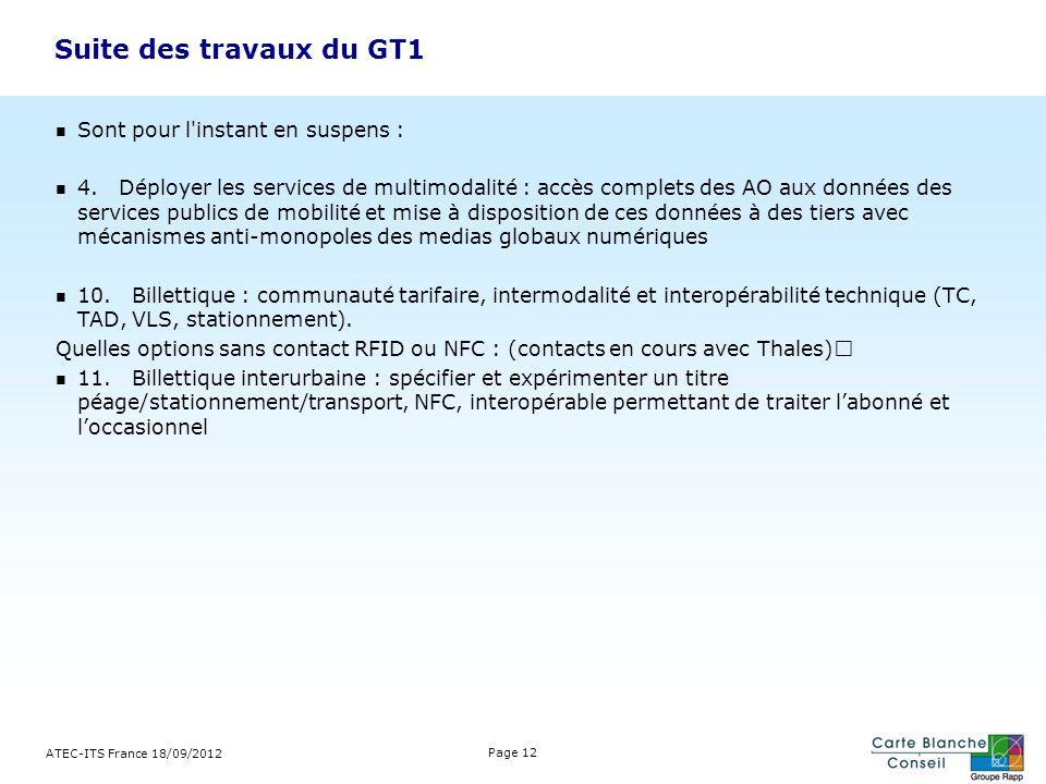 ATEC-ITS France 18/09/2012 Page 12 Sont pour l'instant en suspens : 4. Déployer les services de multimodalité : accès complets des AO aux données des