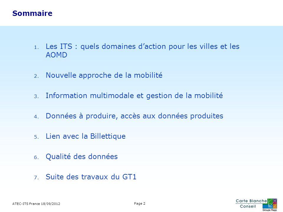 Domaines daction ATEC-ITS France 18/09/2012 Page 3 Les ITS (Intelligent Transport Systems) sont lapplication aux domaines de la mobilité des TIC.