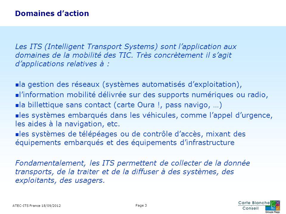 Domaines daction ATEC-ITS France 18/09/2012 Page 3 Les ITS (Intelligent Transport Systems) sont lapplication aux domaines de la mobilité des TIC. Très