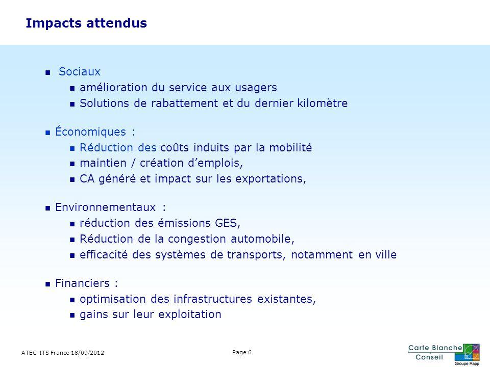 ATEC-ITS France 18/09/2012 Page 6 Impacts attendus Sociaux amélioration du service aux usagers Solutions de rabattement et du dernier kilomètre Économ
